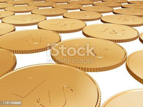 istock gold  coin carpet on white 1131183685