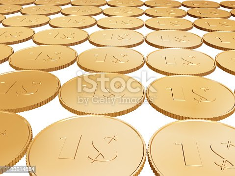 istock gold  coin carpet on white 1133614884