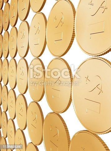 istock gold coin carpet on white 1133855397