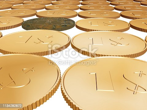 istock gold coin carpet on white 1134282872