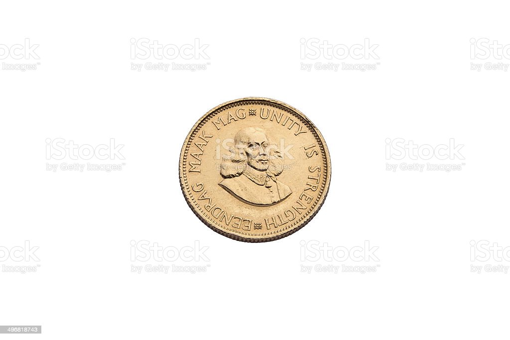 Gold coin from South Arfica stock photo
