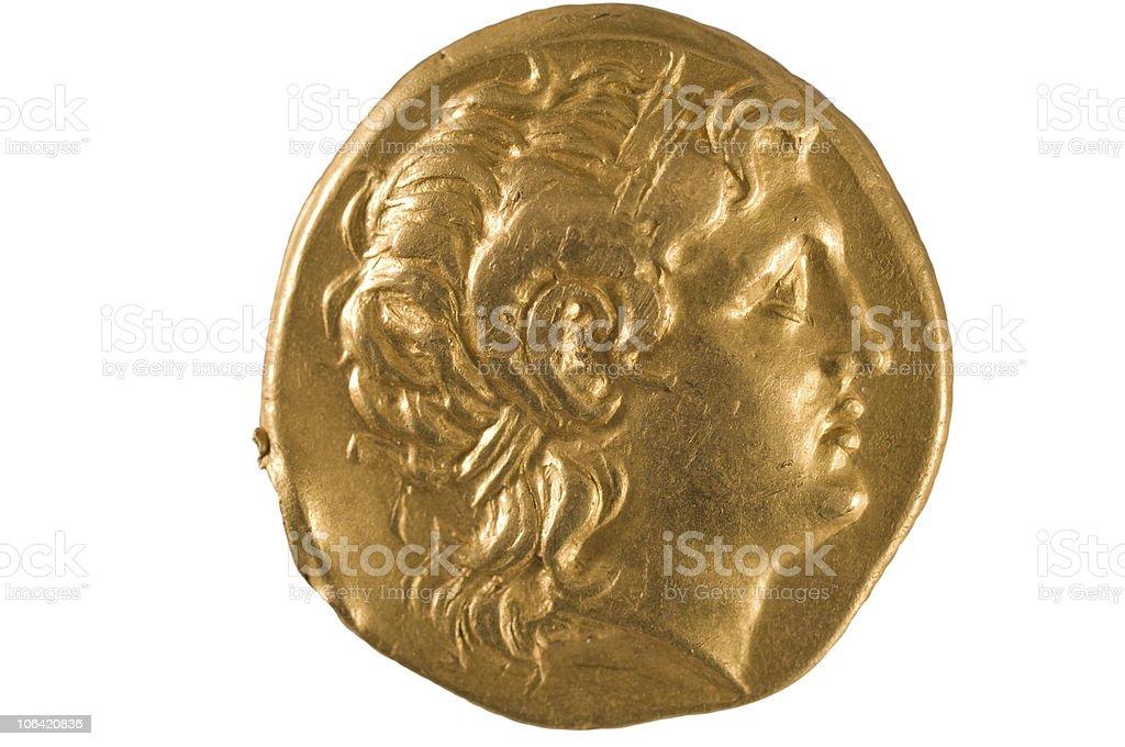 Moeda de ouro da Grécia antiga. - foto de acervo