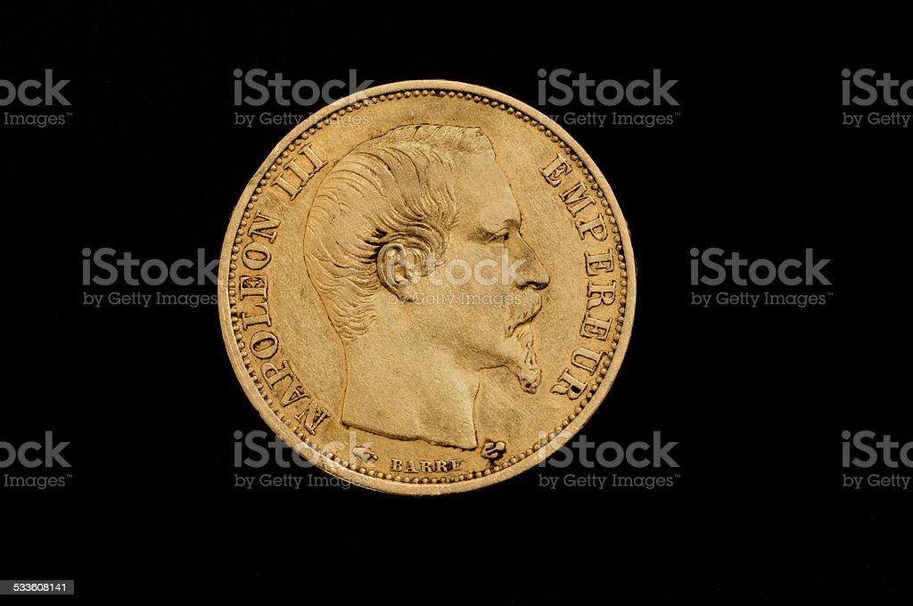 gold coin twenty francs, France, Npoleon III stock photo