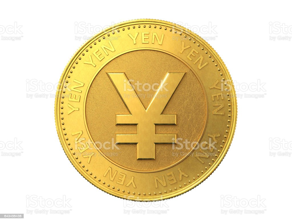 Gold coin with yen sign. 3d rendering. stock photo