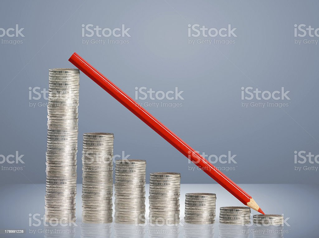 gold coins and graph them royalty-free stock photo