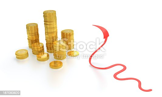 1039640896istockphoto Gold coins and red arrow snake 187083620