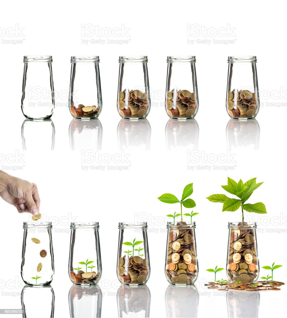 Gold coins and seed in clear bottle on white background,Business investment growth concept, active and passive income concept stock photo