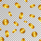 Gold coins explosion on the transparent background Vector