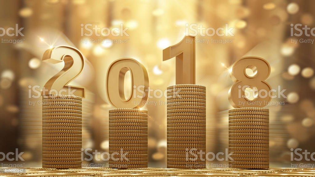 2018 monedas de oro cayendo - foto de stock