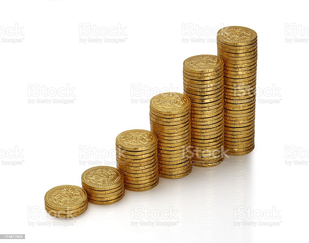 Gold Coins forming a Bar Graph royalty-free stock photo