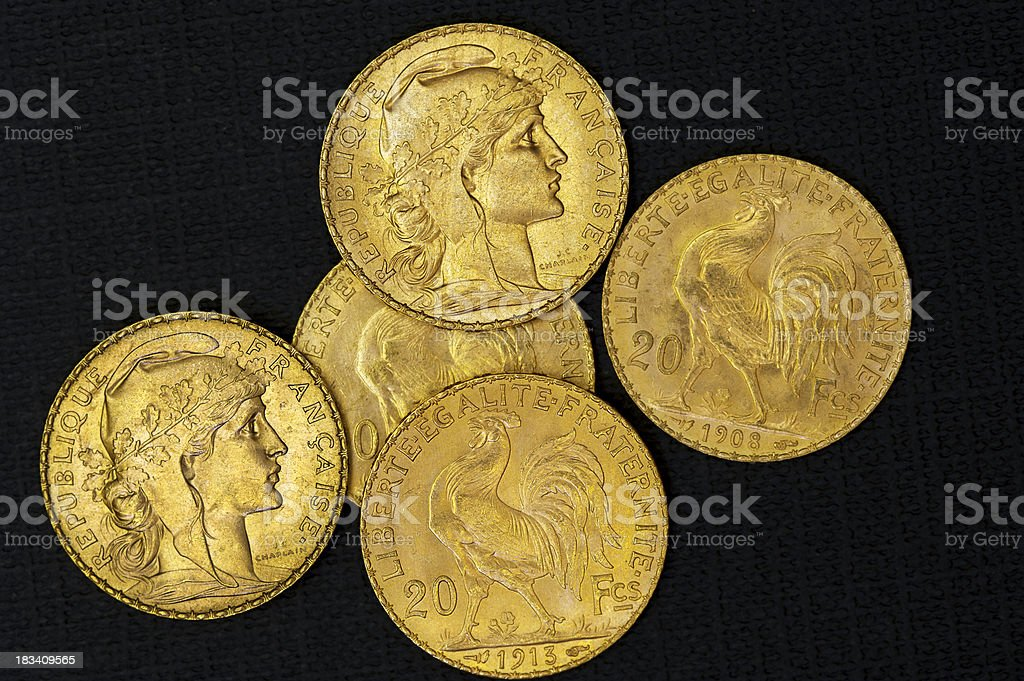 Gold coins from France stock photo