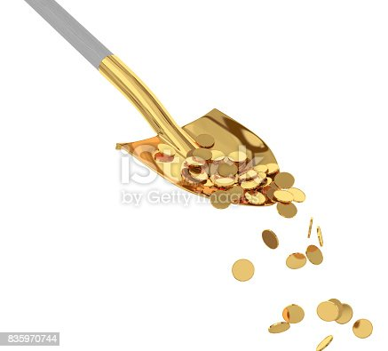 istock Gold coins in a golden shovel on isolated background. 3d render 835970744