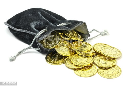 872222012istockphoto Gold coins in a velvet pouch 932565882