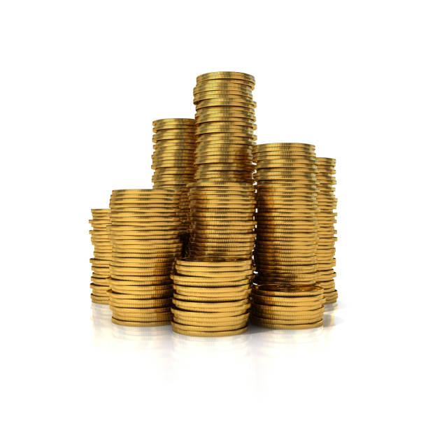 yığın altın sikke - bozuk para stok fotoğraflar ve resimler