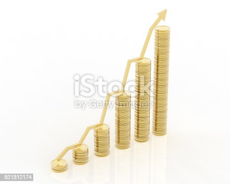 1039640896istockphoto Gold coins increasing graph 521312174