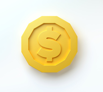lowpoly gold coins isolated on white background. 3d realistic render