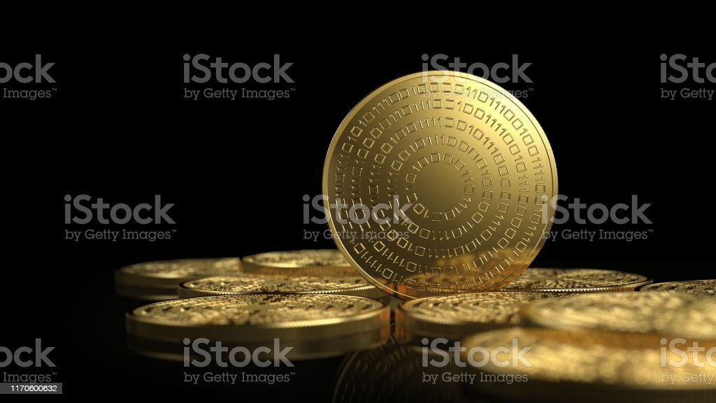 Gold coins isolated on white background. Cryptocurrency concept. - Royalty-free Backgrounds Stock Photo