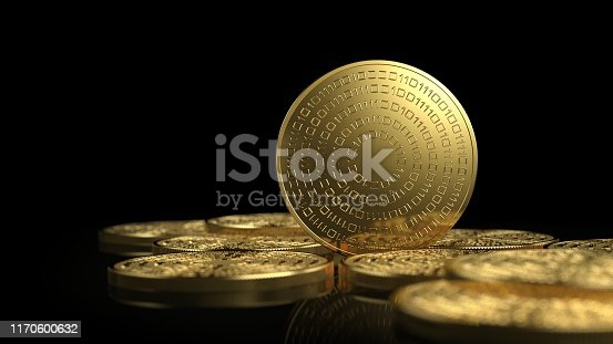 Gold coins isolated on white background. Cryptocurrency concept. 3d illustration.