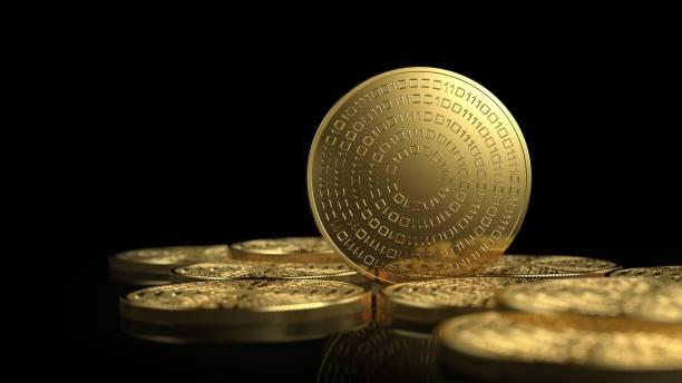 altın sikkeler beyaz arka plan üzerinde izole. kripto para birimi kavramı. - kripto para birimi stok fotoğraflar ve resimler