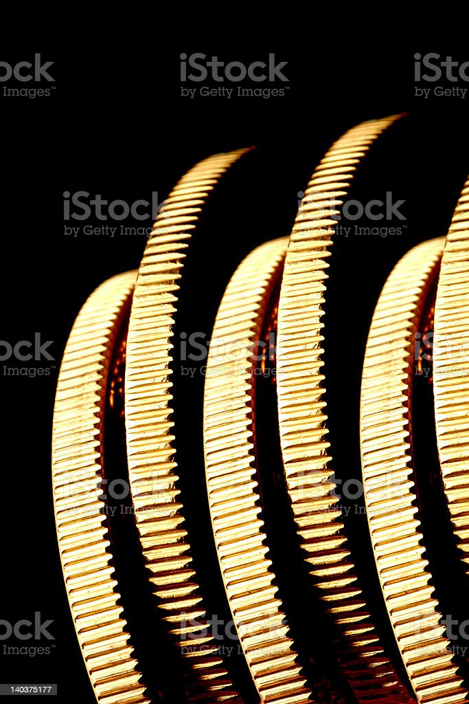 Gold Coins On Edge royalty-free stock photo