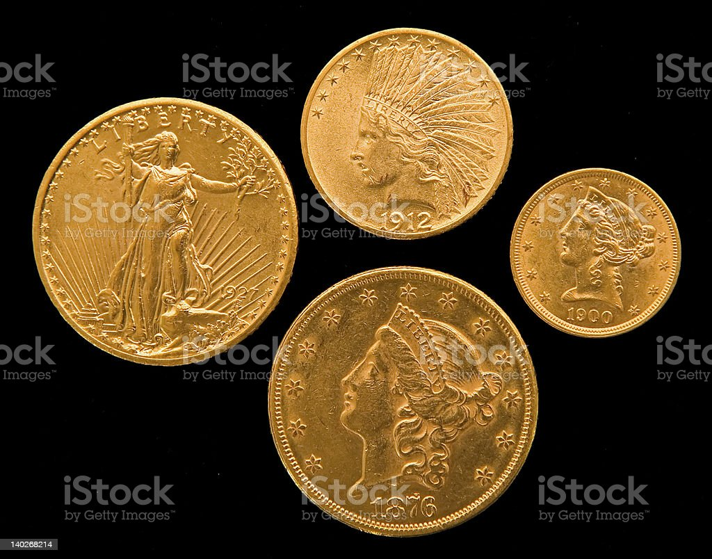 US Gold Coins royalty-free stock photo