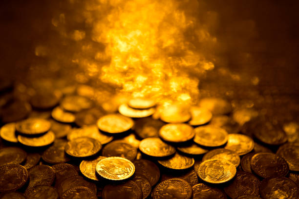 gold coins - coin stock photos and pictures