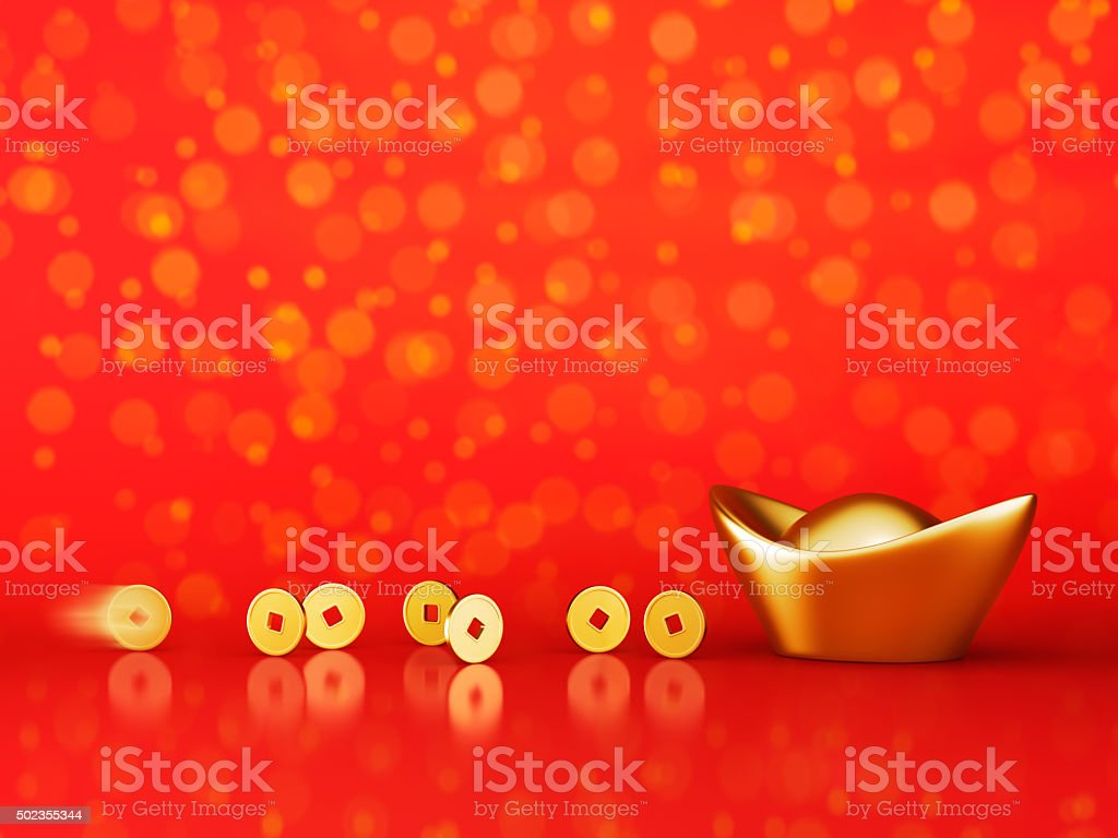 Gold Coins Rolling Towards Gold Sycee - Yuanbao stock photo