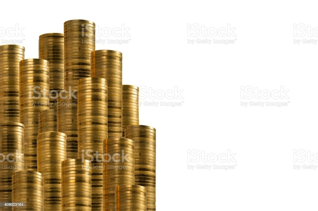 gold coins side decoration stock photo