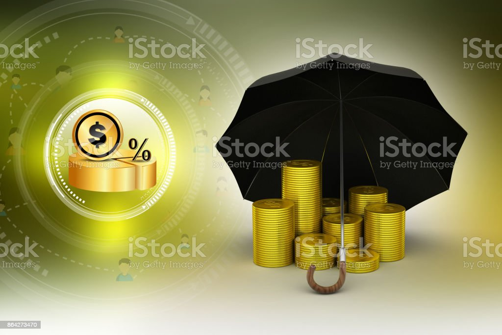 Gold coins under a black umbrella royalty-free stock photo