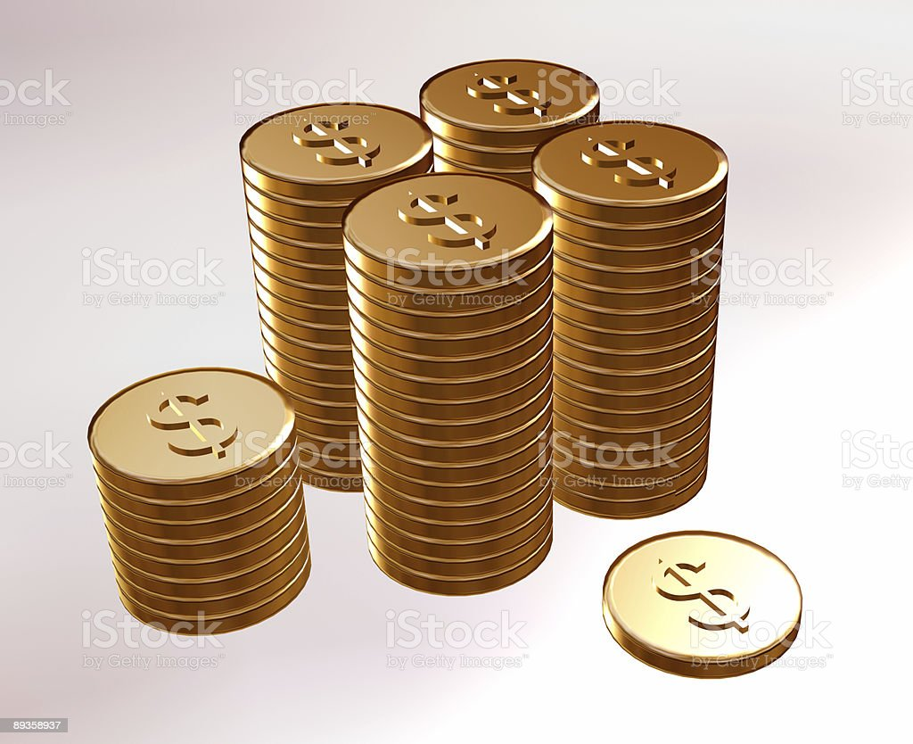 Stampigliatura oro monete con dollari foto stock royalty-free