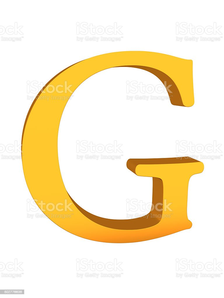 Gold Color 3d Letter G stock photo