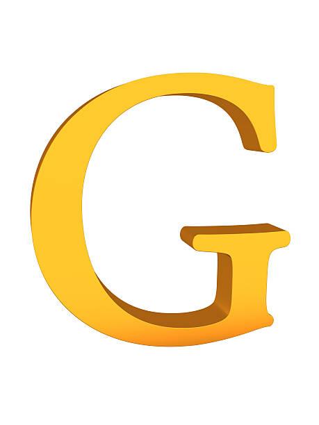 Gold Color 3d Letter G stock photo