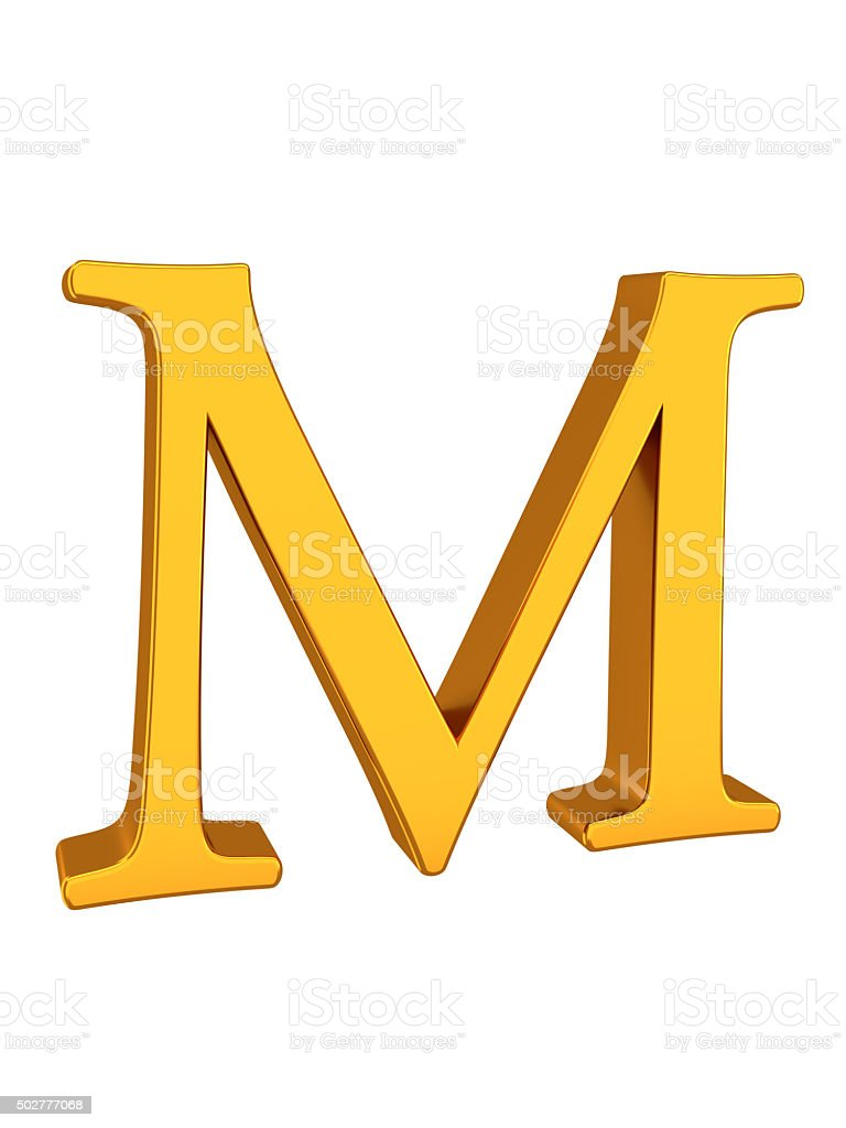 Gold Color 3d Letter M stock photo