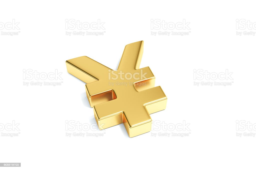 Gold Color Japanese Yen Currency Symbol Isolated On White Background
