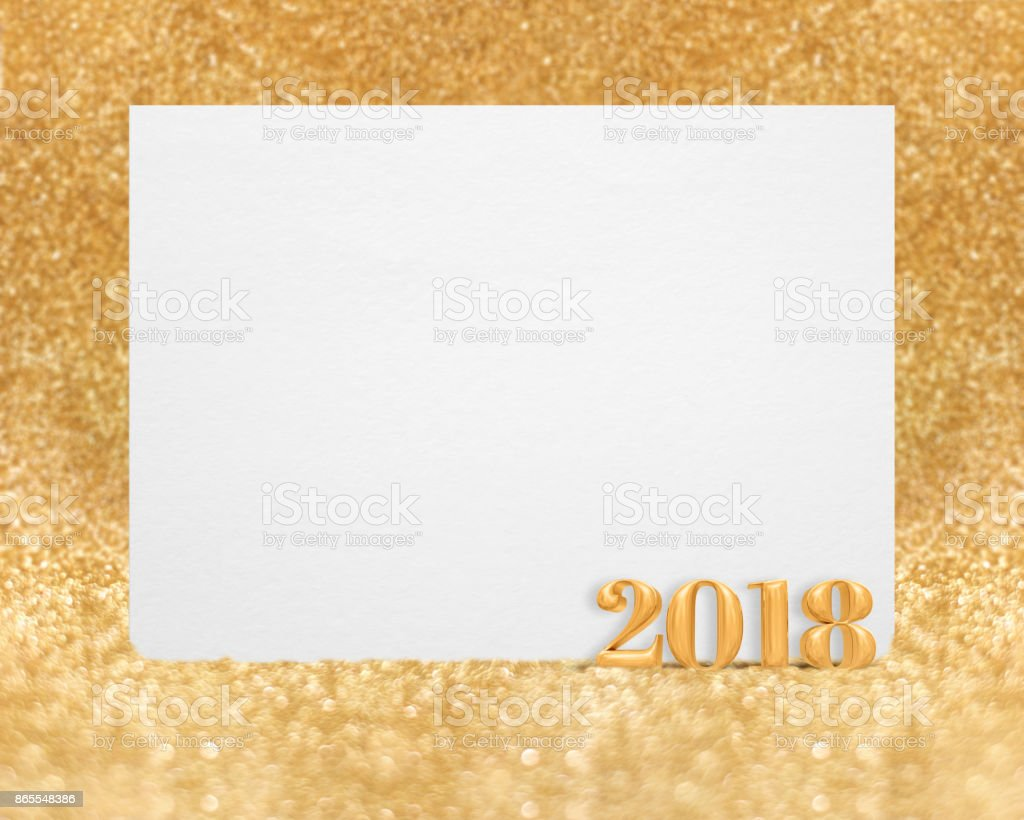 gold color new year 2018 3d rendering with blank white greeting card in golend