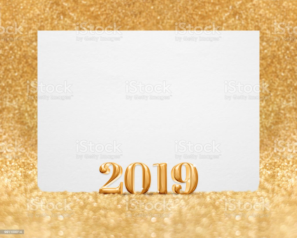 gold color new year 2019 3d rendering with blank white greeting card in golden