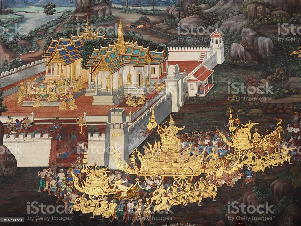 gold color of old mural is the story of Ramakian stock photo