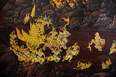 Gold color of old mural is the story of Ramakian,Generally in Thailand, any kinds of art decorated in Buddhist church, temple pavilion, temple hall, monk's house etc. created with money donated by people to hire artist. They are public domain or treasure