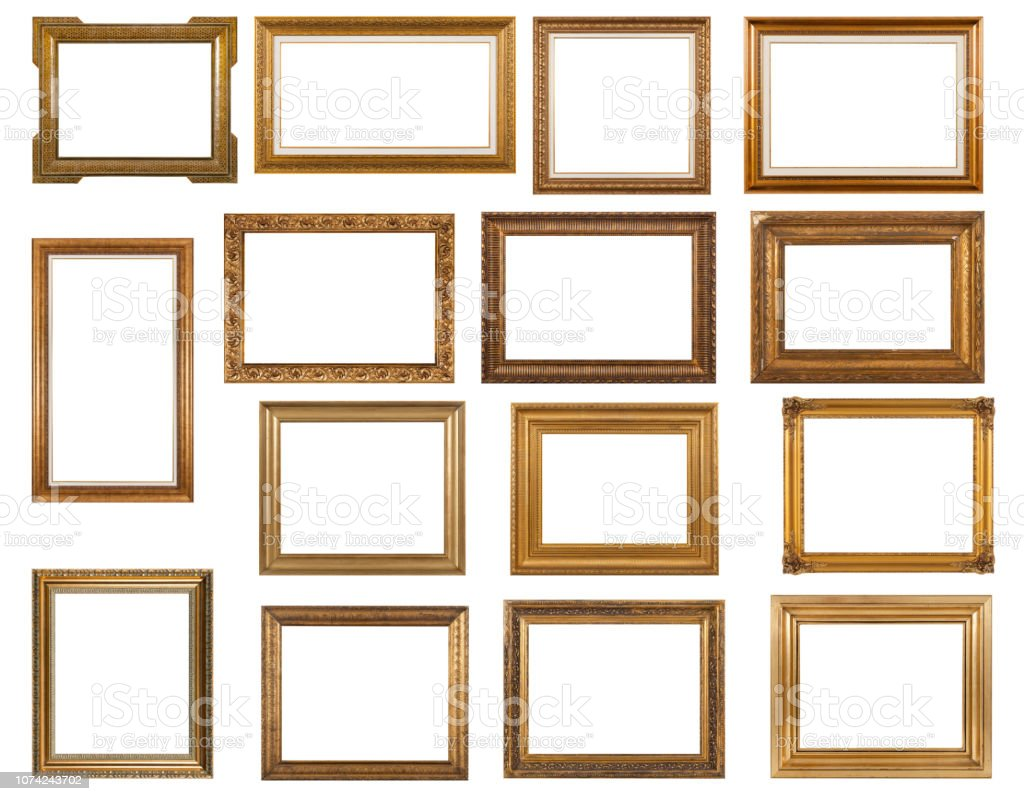 Gold color photo frames stock photo