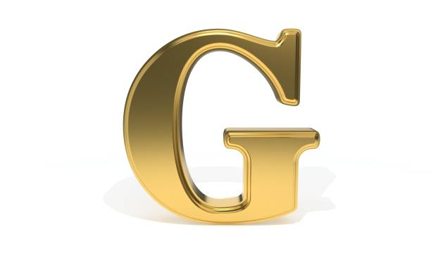 G gold colored alphabet, 3d rendering stock photo