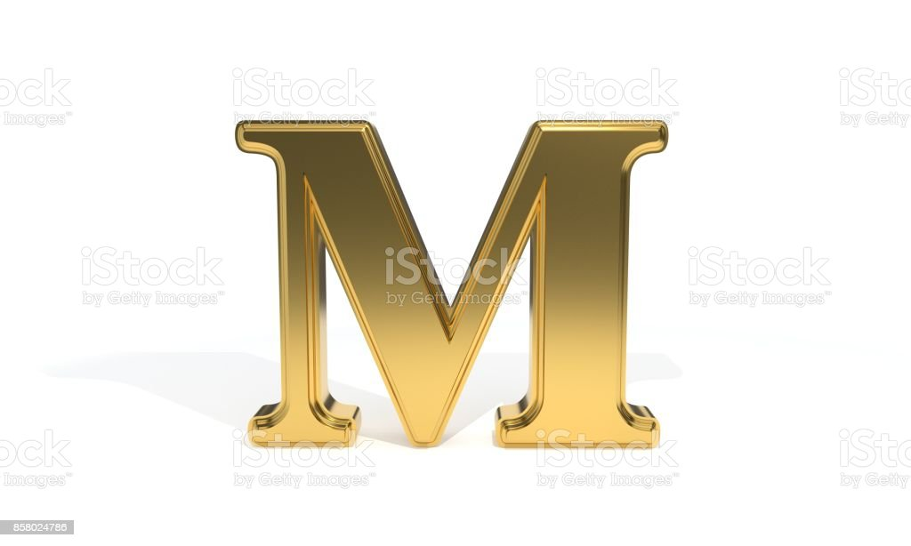 M gold colored alphabet, 3d rendering stock photo