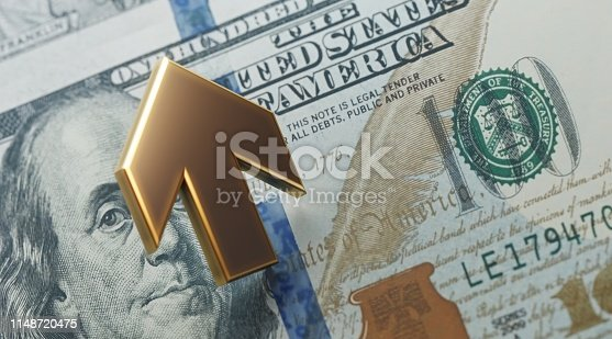 istock Gold Colored Arrow Moving Up Over One Hundred American Dollar Bill 1148720475