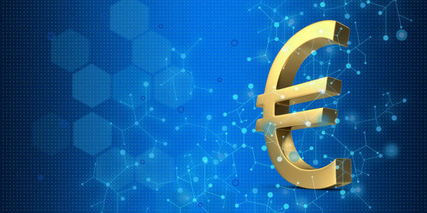 Gold colored currency symbols on blue background stock photo