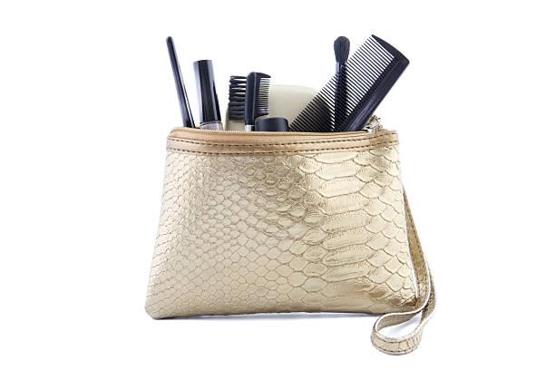 Color oro make-up bag con make-up - foto stock