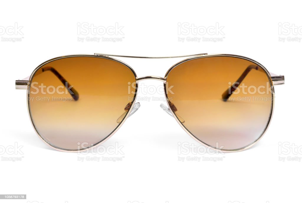 Gold colored sunglasses, isolated on white stock photo