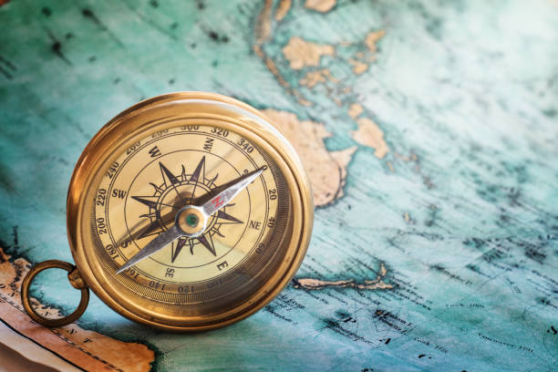 Gold compass stock photo