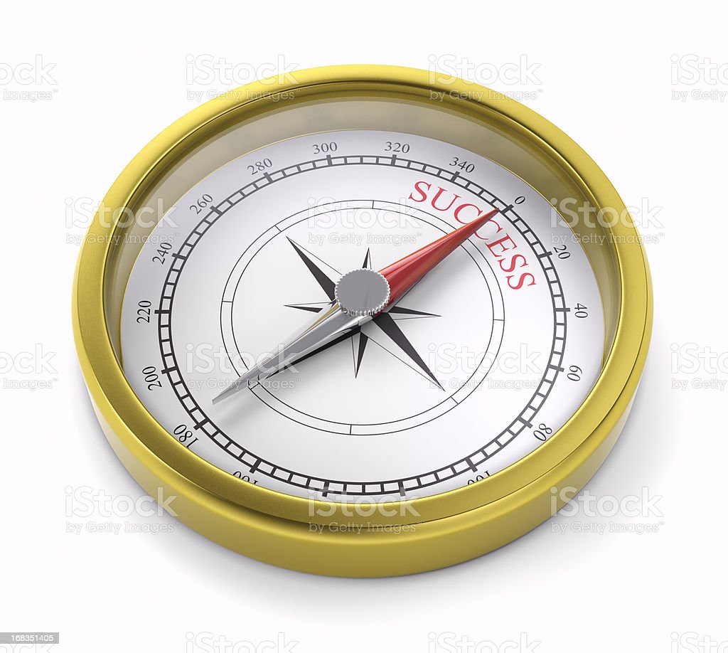 gold compass pointing to succes stock photo