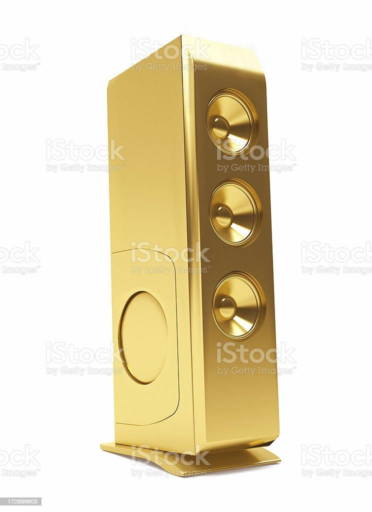 3D Gold Computer speaker stock photo