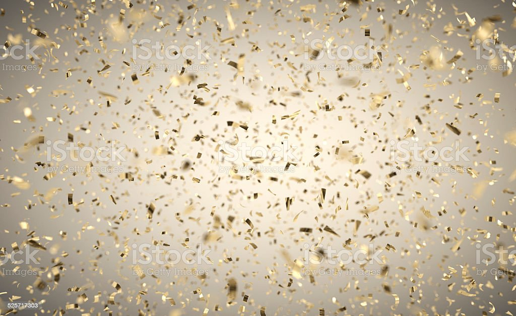 Gold Confetti Rain stock photo