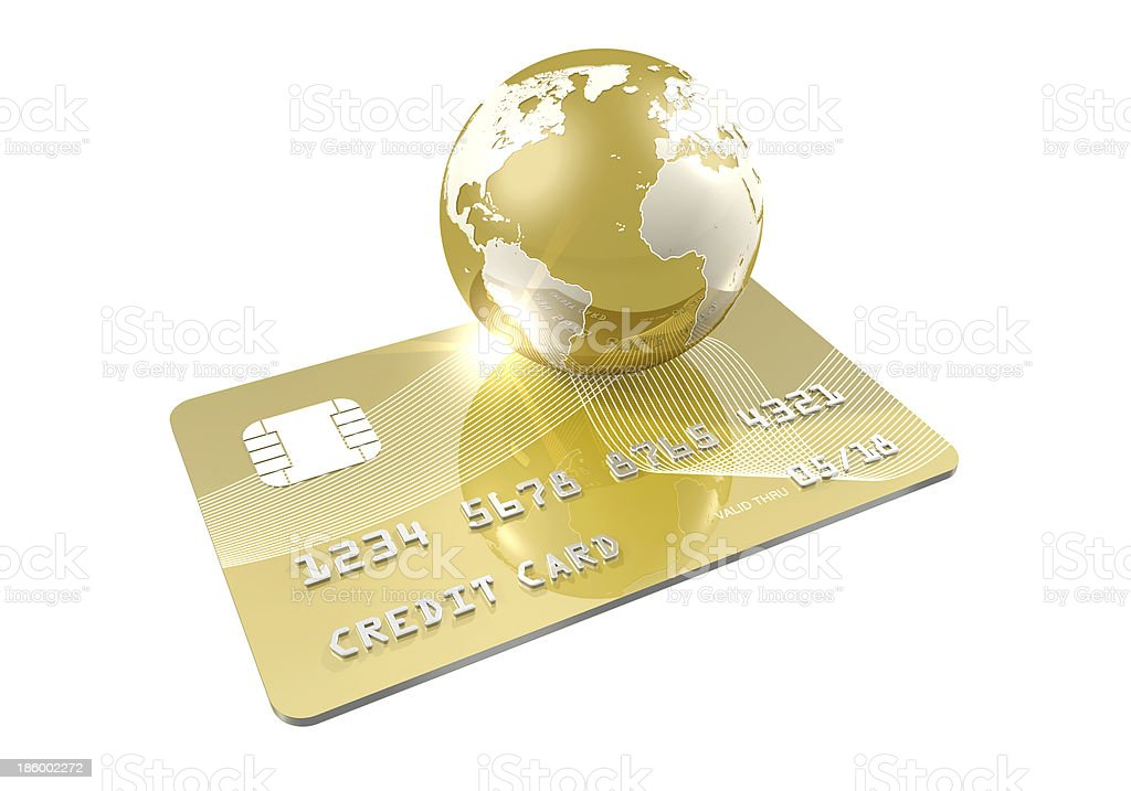 Gold Credit Card and Businessworld stock photo